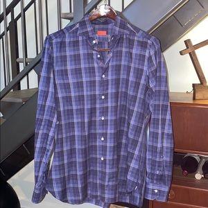 Men's plaid Isaia spread-collar dress shirt- sz 44